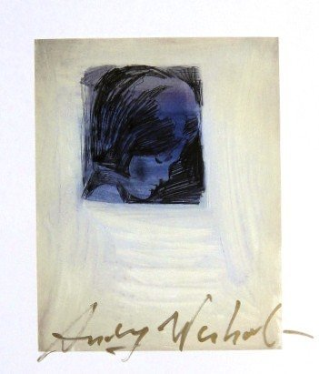 Andy Warhol, signed Print, Profile of a Woman, 1986