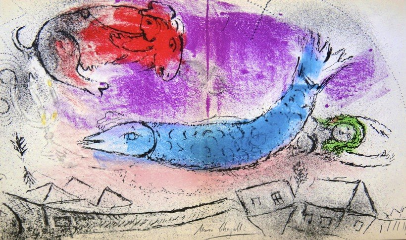 """Marc CHAGALL, """" Le Poisson Bleu Ó Litho"""