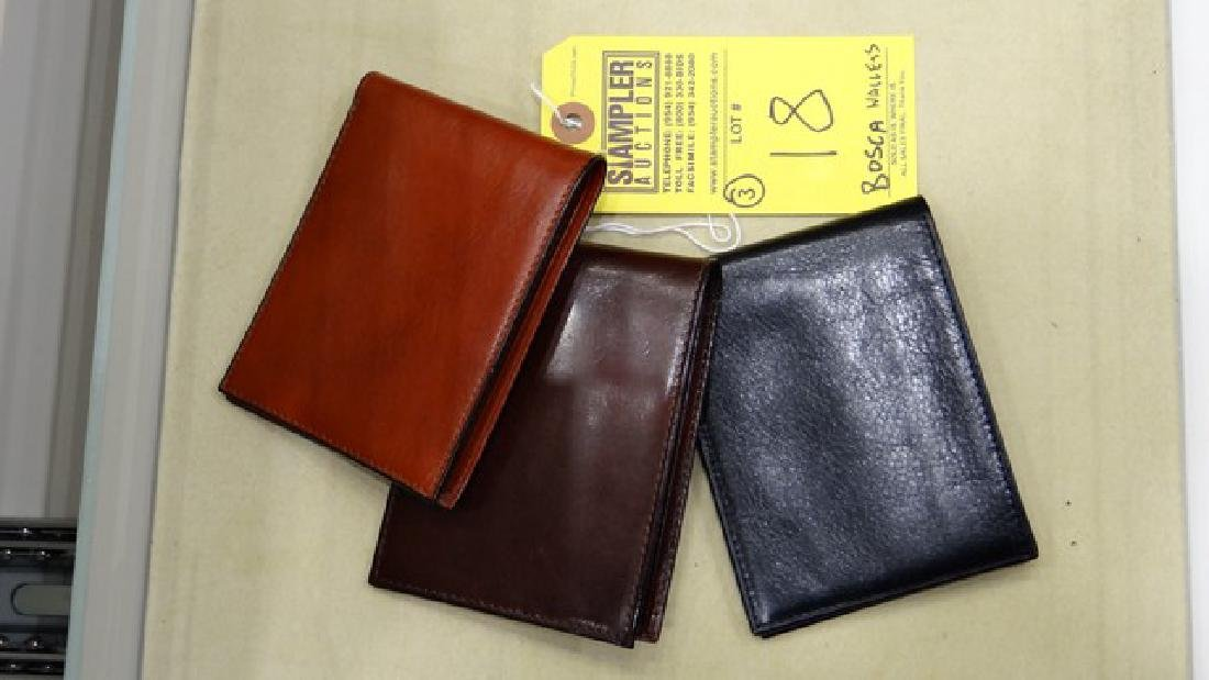 3 BOSCA 8-POCKET DELUXE EXECUTIVE WALLET - LEATHER -