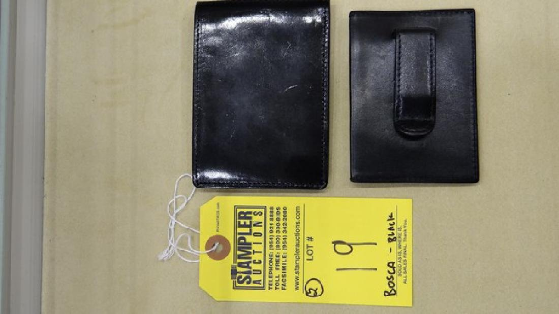 2 BOSCA WALLETS - BI-FOLD / FRONT POCKET WITH MONEY