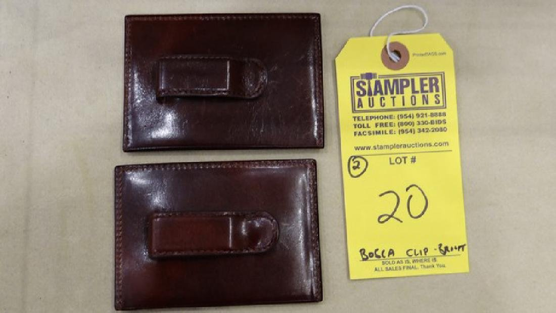 2 BOSCA FRONT POCKET WALLET WITH MONEY CLIP - LEATHER -