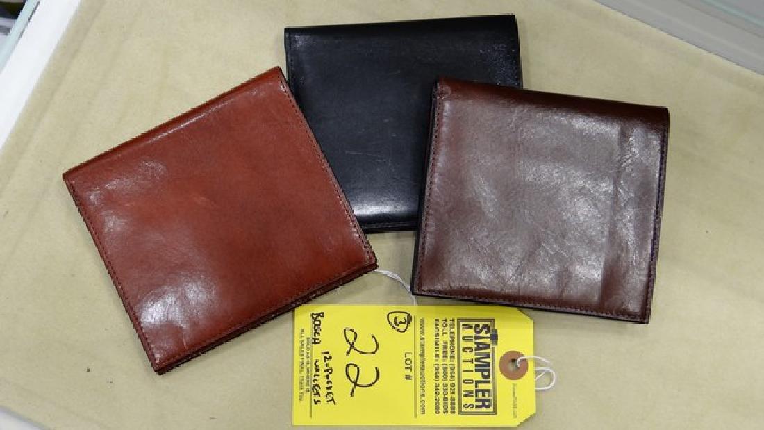 3 BOSCA ASSORTED 12-POCKET CREDIT CARD WALLETS -