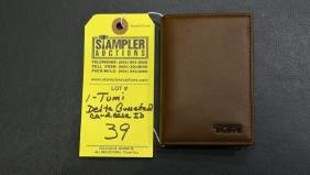 TUMI GUSSETED CARD CASE ID - DELTA - BROWN SADDLE