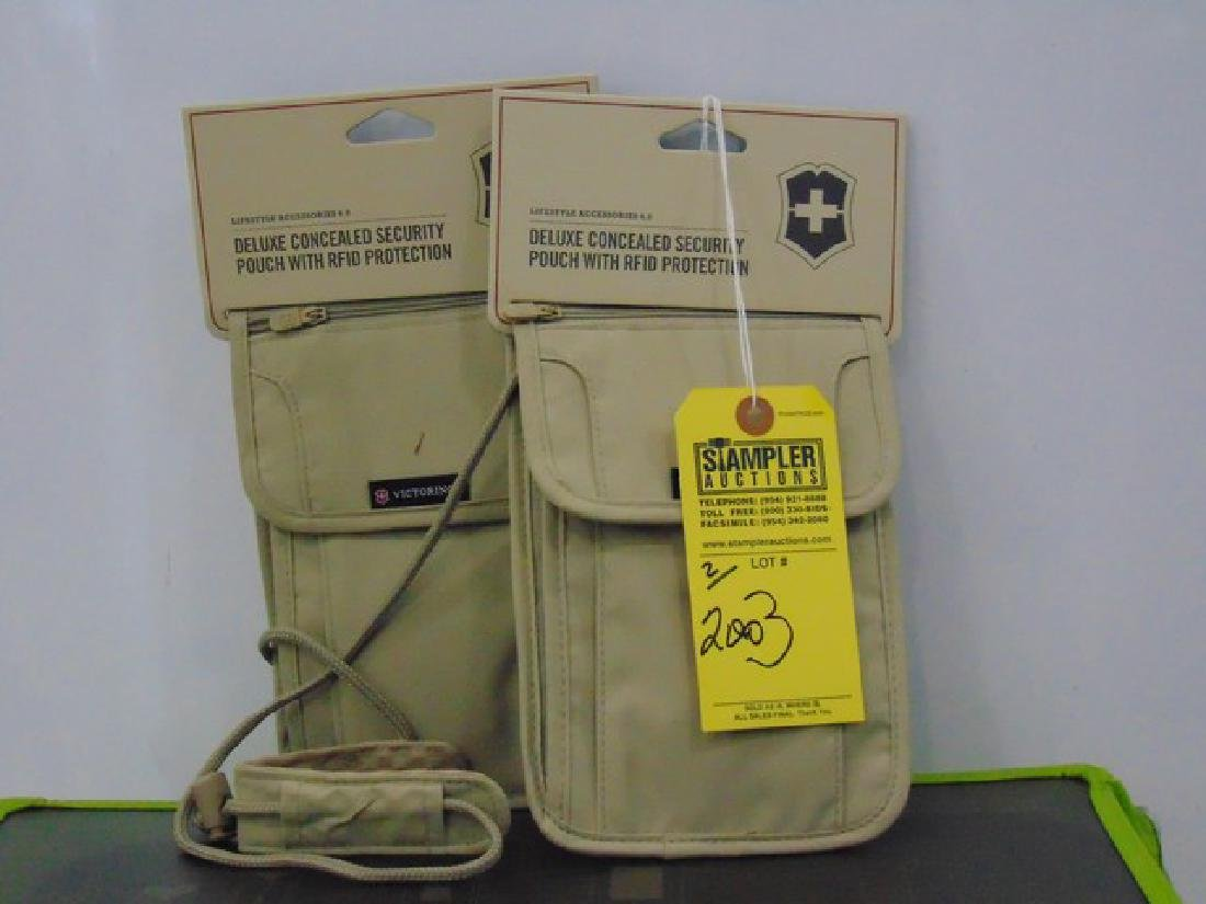 2 VICTORINOX DELUXE CONCEALED SECURITY POUCHES - TAN -