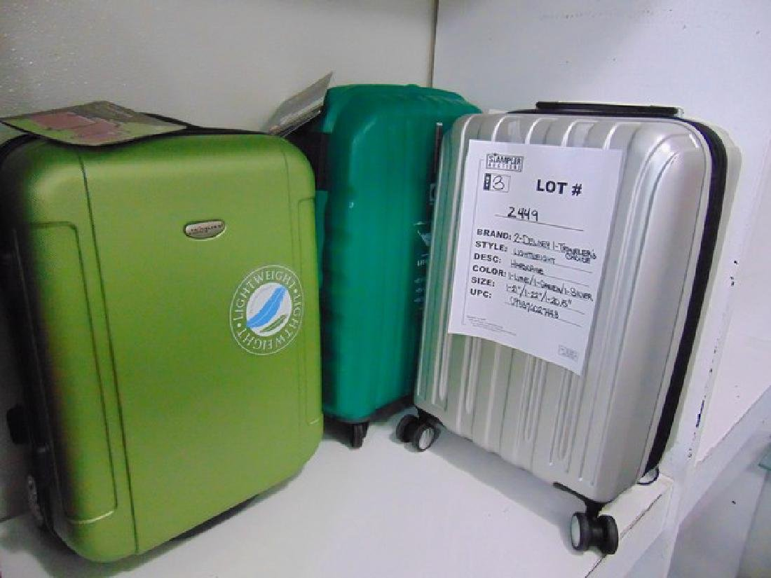 3 ASSORTED SUITCASES - HARDCASE - 21''-22'' - 2- DELSEY