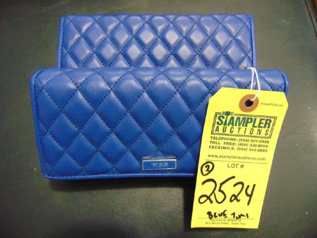2 TUMI WALLETS - PADDED LEATHER - FLAP - BLUE -