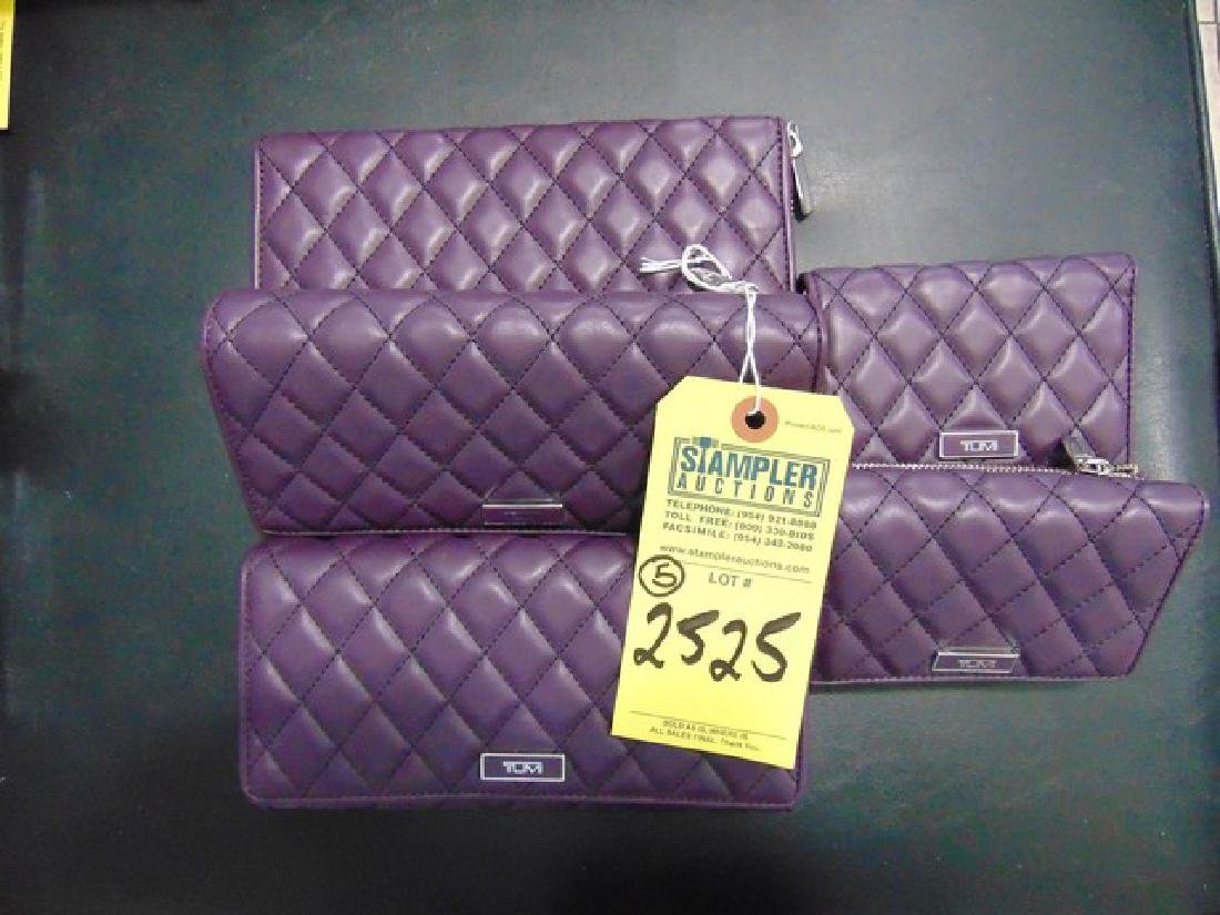 5 TUMI WALLETS - PADDED LEATHER - MONTAGUE - 2- TRIFOLD