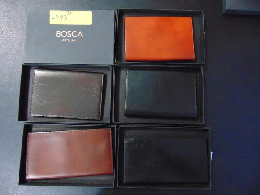 5 BOSCA ASSORTED CHECK BOOK HOLDERS - LEATHER - BLACK /