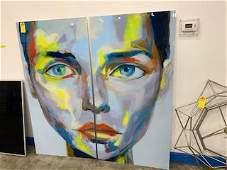 2-PIECE ACRYLIC ARTWORK - WOMAN'S FACE - 72x72 OVERALL