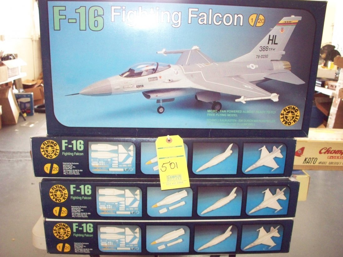 4 - F-16 FIGHTING FALCON 1/20 SCALE FLYING STYRO KITS