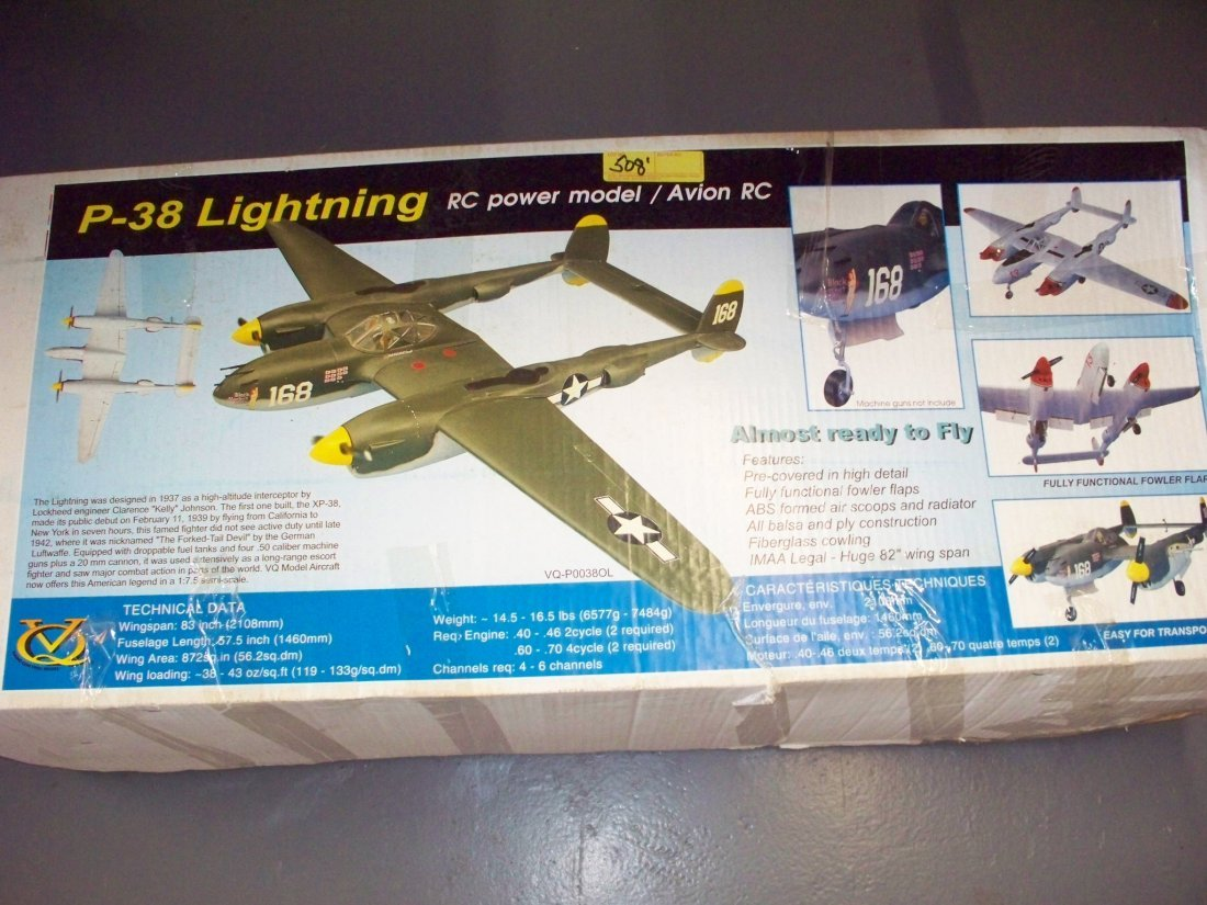 P-38 LIGHTNING RC POWER MODEL AVION RC KIT - WING SPAN