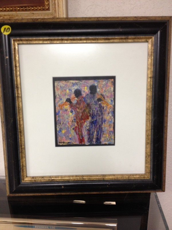 ART - HORN DUET - OIL ON PAPER - SIGNED SHEORICK (LOWER