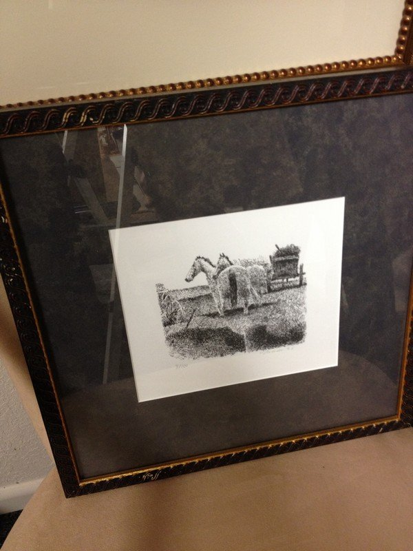 ART - 2 HORSES WITH HAY WAGON - BLACK & WHITE INK