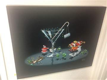 ART - CHRISTMAS MARTINI PARTY - GICLEE ON CANVAS -