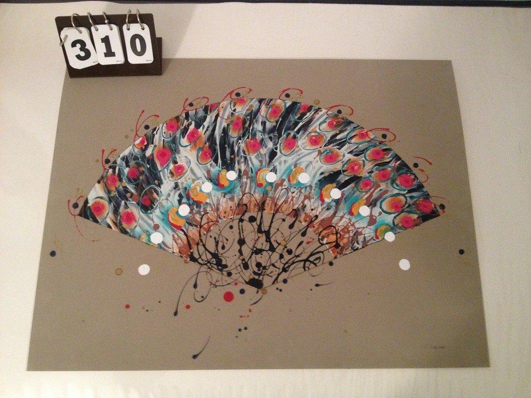 ARTWORK - ASIAN HAND FAN - ORIGINAL MIXED MEDIA -