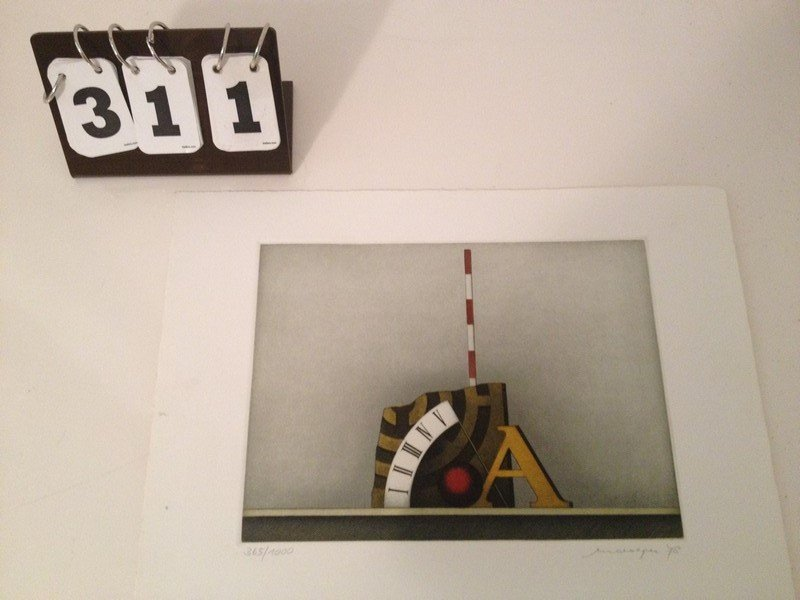 ARTWORK - ROMAN NUMERALS - LITHOGRAPH - SIGNED