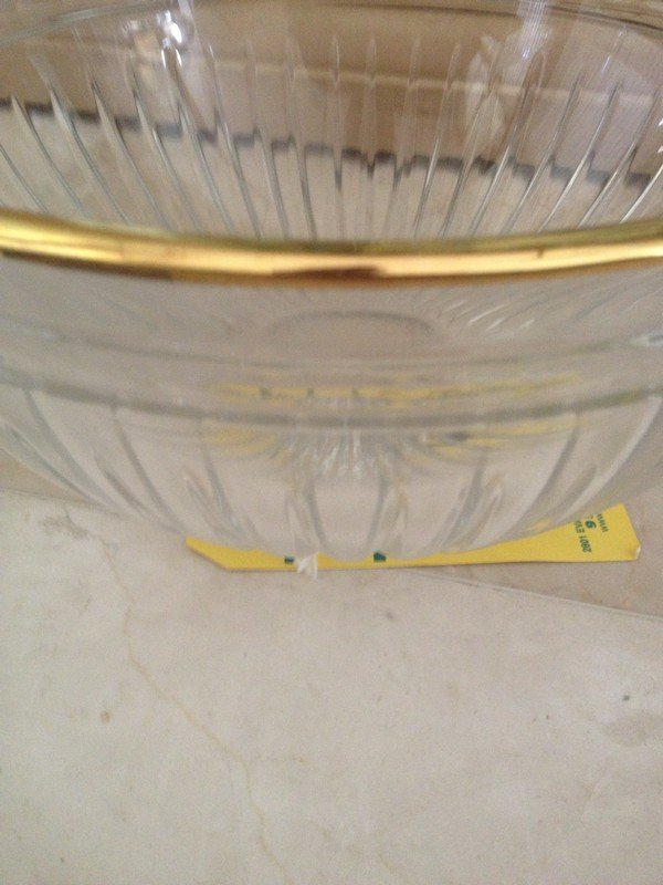 WATERFORD CRYSTAL - MARQUIS BOWL WITH GOLD TRIM - - 2