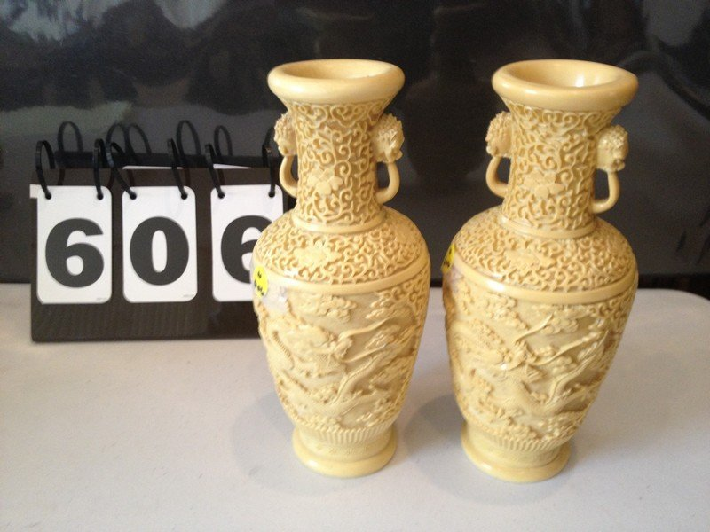 LOT OF 2 CARVED IVORY VASES WITH DRAGON DESIGN -