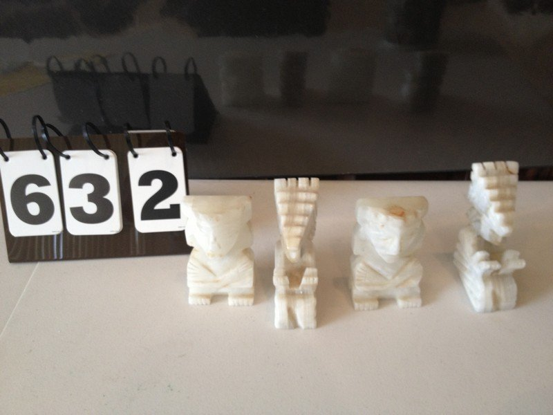 LOT OF 4 MARBLE FIGURINES - AZTEC DESIGN - 4'' TALL
