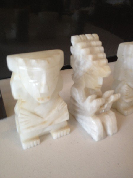 LOT OF 4 MARBLE FIGURINES - AZTEC DESIGN - 4'' TALL - 2