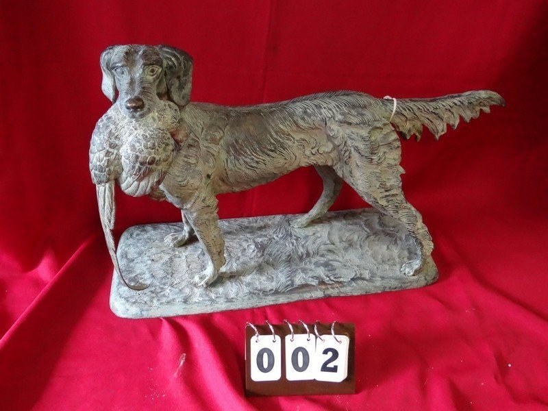 BRONZE STATUE - DOG WITH PHEASANT IN MOUTH - 16'L x