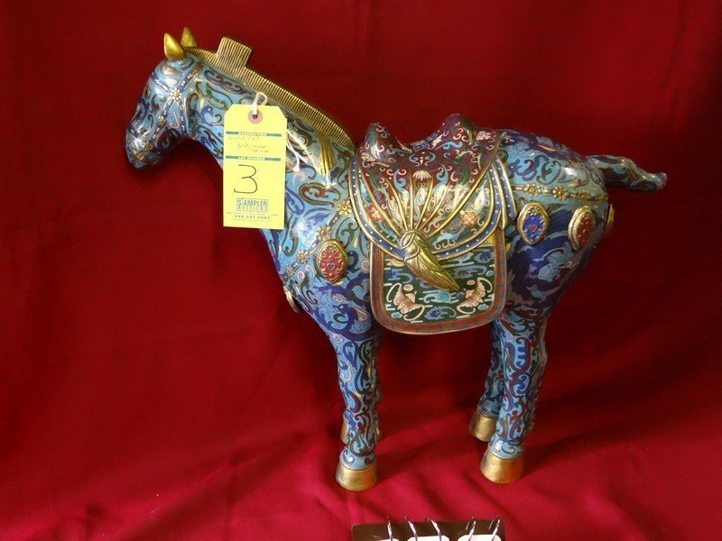 CLOISONNE STATUE - BLUE HORSE - WITH REMOVABLE SADDLE -