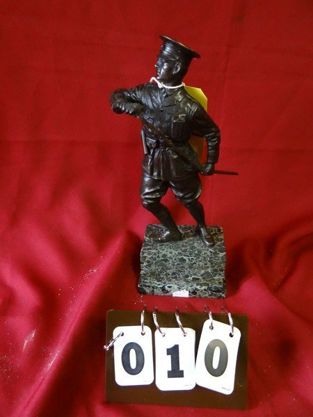 BRONZE STATUE - MILITARY OFFICER WITH UNSHEATHED SWORD