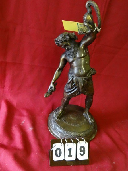 BRONZE STATUE - MAN HOLDING TORCH AND SNAKE - 10''L x