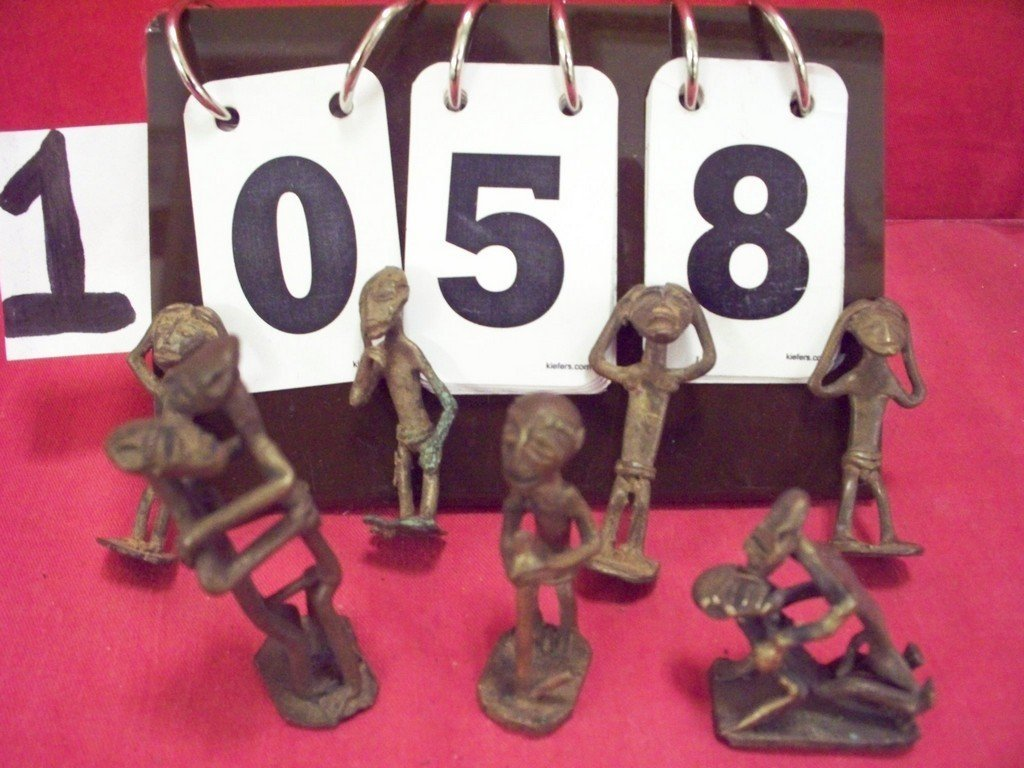 LOT OF 7 - BRONZE FIGURINES - EROTICA AND ASSORTED -