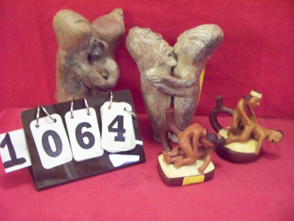 LOT OF 4 - CLAY EROTICA FIGURINES - 2 INCAN FERTILATY