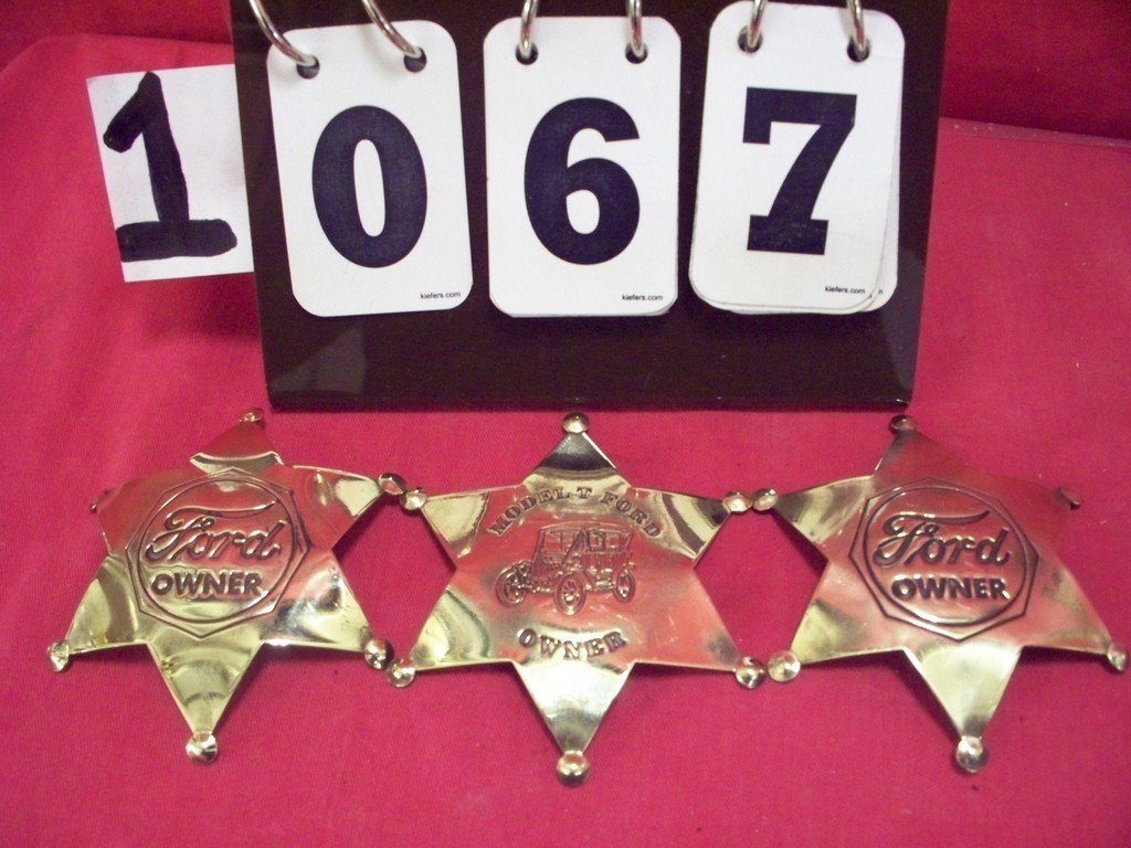 LOT OF 3 - BRASS BADGES - 2 FORD OWNER - 1 MODEL T FORD