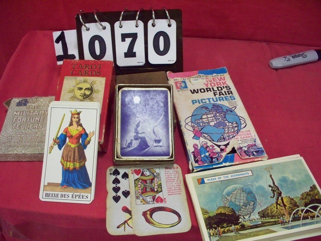 LOT OF 5 - ASSORTED ANTIQUE CARDS - TAROT/FOURTUNE