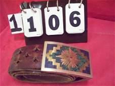 CLOISONNE BELT BUCKLE - WITH BELT 38'' - SUN ART -