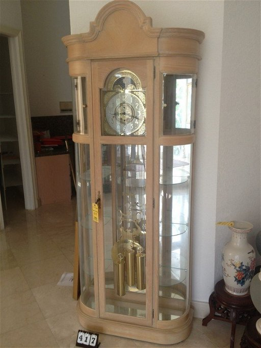 RIDGEWAY LIGHT WASHED OAK CABINET GRANDFATHER CLOCK
