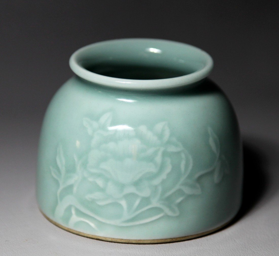 20: CARVED CELADON PORCELAIN WRITER'S COUPE