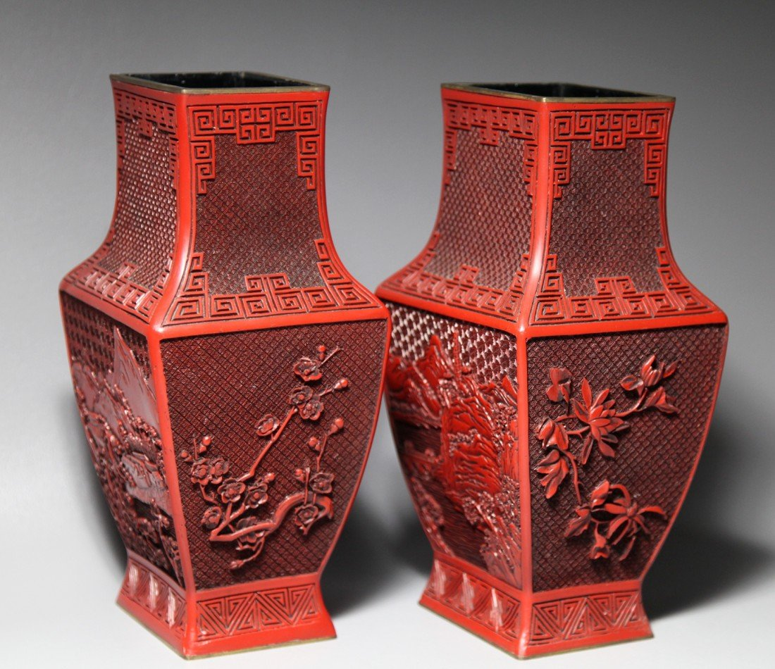 23: PAIR OF RED CINNABAR VASES