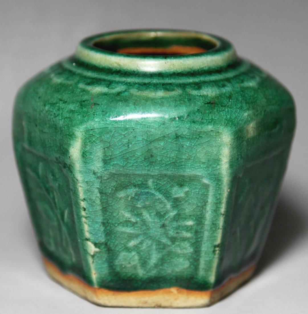 4: GREEN GLAZE POTTERY POT