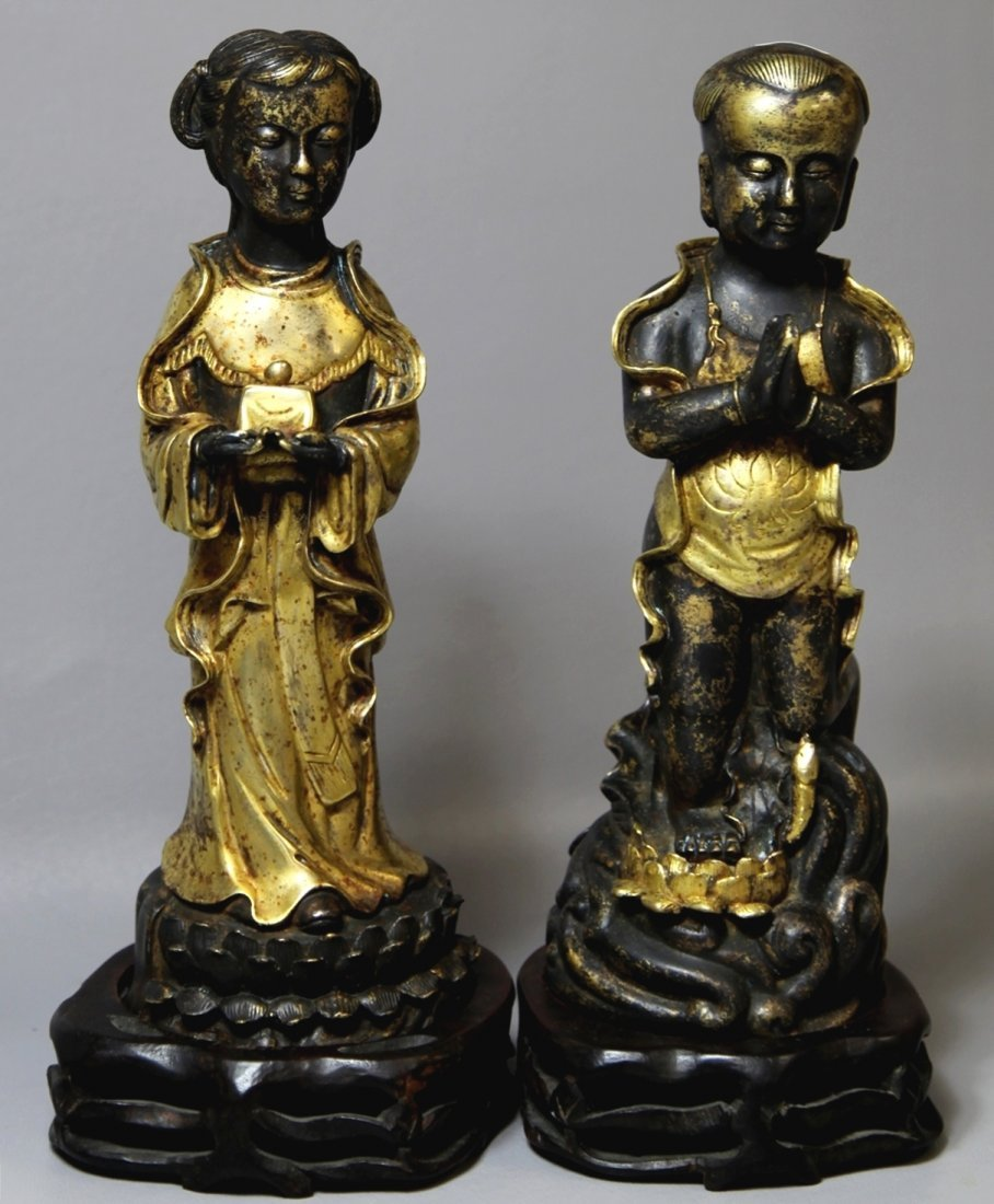 PAIR OF GILT-BRONZE CHILDREN FIGURES