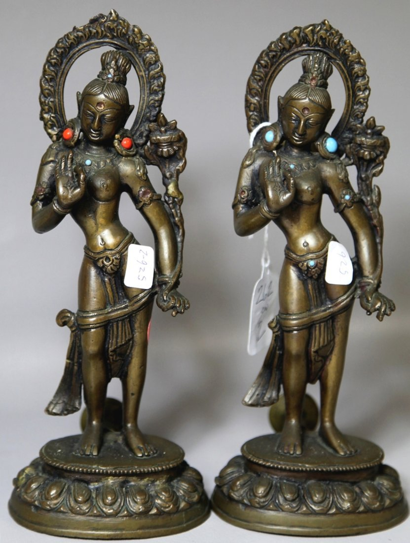 GILT BRONZE BUDDHISATTVA WITH GEMSTONE INLAY