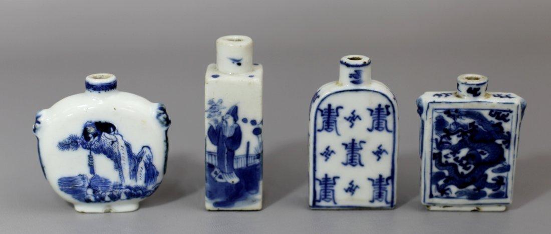 3: FOUR BLUE AND WHITE PORCELAIN SNUFF BOTLLES