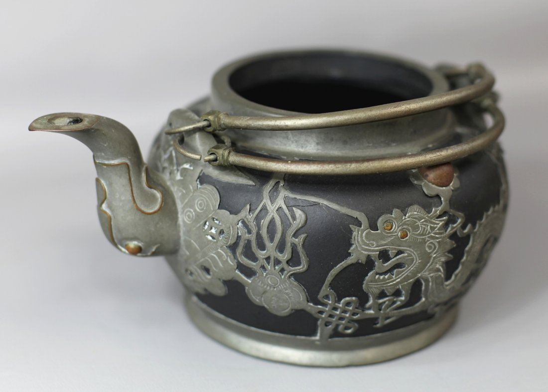 10: TINNED ZISHA POTTERY TEAPOT (WITHOUT COVER)