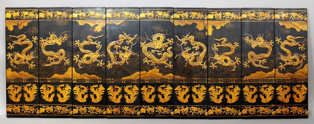 15: LACQUER PAINTING OF NINE DRAGONS ON BOARDS