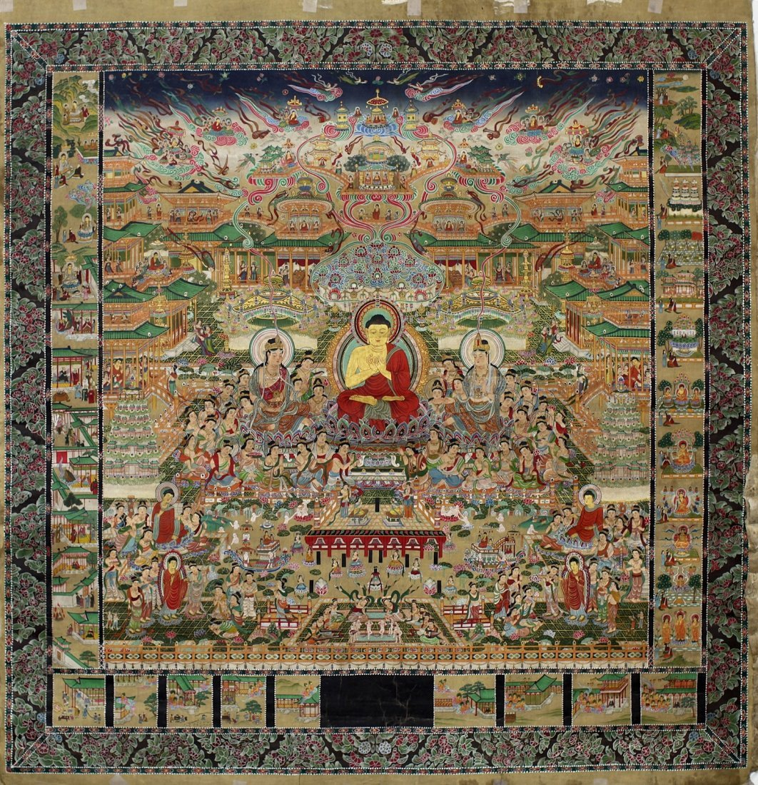 222: MANDALA BUDDHIST PAINTING ON SILK