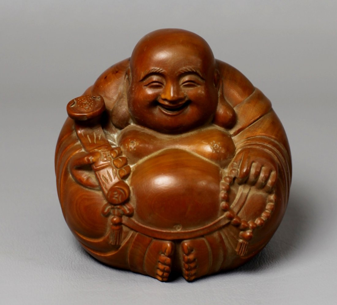 1: BOXWOOD MAITREYA BUDDHA