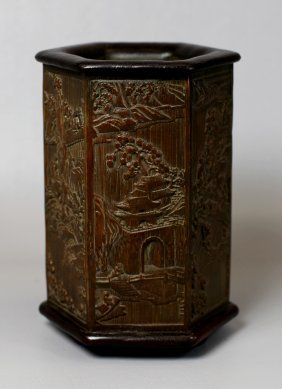 SIX-EDGE CARVED BAMBOO BRUSHPOT