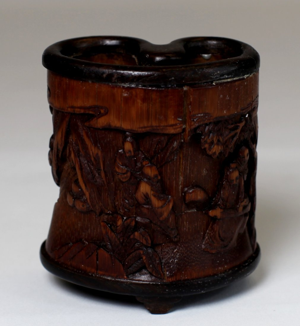 UNIQUE CARVED BAMBOO BRUSH POT