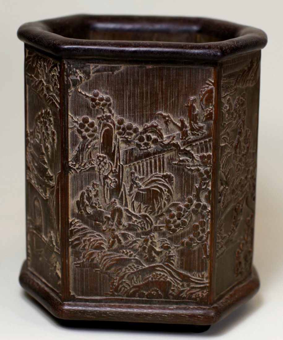 EIGHT-EDGE CARVED BAMBOO BRUSHPOT