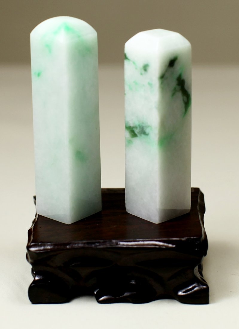 PAIR OF JADEITE SEALS