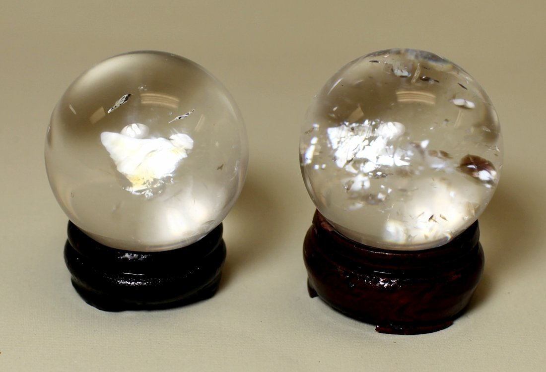PAIR OF CRYSTAL BALLS
