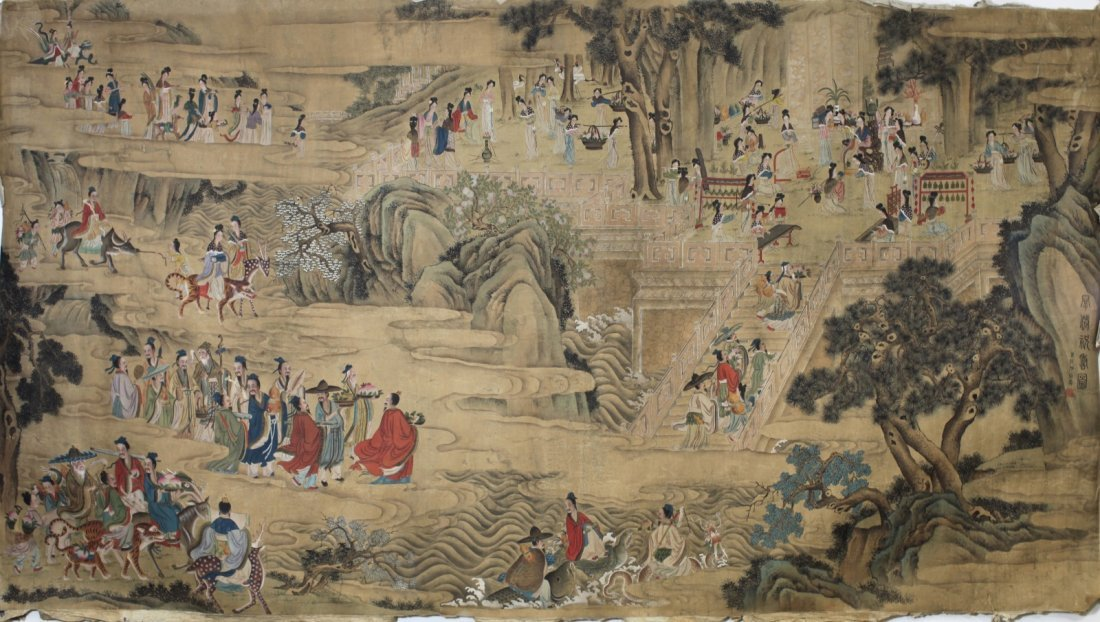 LONG SCROLL PAINTING ON SILK, ATTRIBUTED TO FEI DAN XU